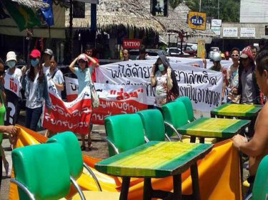 Protesters call for Army intervention in a Patong street rally today