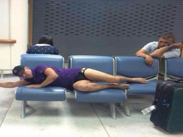 The Russian takes a little time out at Phuket International Airport today