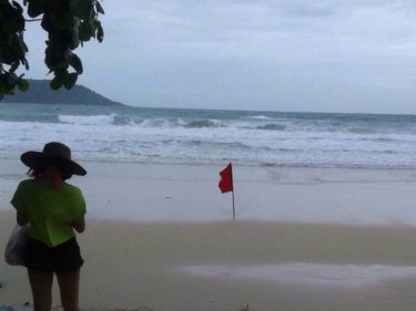 Surf pounds the sand yesterday at Phuket's Kata beach after the boy vanished