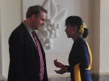 Andy Hall with Aung San Suu Kyi  in 2012