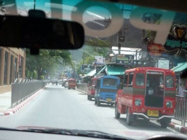 Tuk-tuks parked in the wrong place in Patong's beach road  yesterday