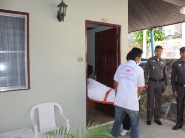 The man's body is removed from the room in Patong today