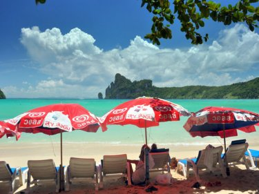 Still shade to be found on Phi Phi, off Phuket, but not for long