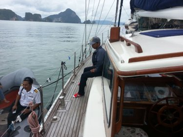 Officials on the yacht in Phang Nga Bay, asking for 10,000 baht