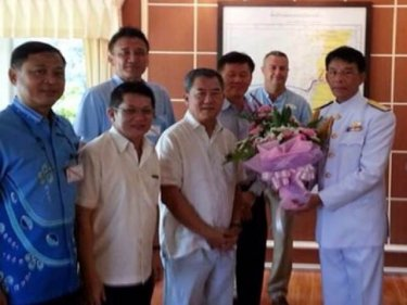 Soon to leave Phuket, Vice Admiral Tharatorn Kajitsuwan is thanked yesterday