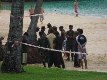 Officials at the resort beach where sunbeds were illegally on the sand