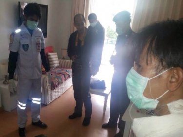 Patong paramedics inside the dead man's condo this week