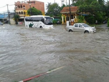 Monsoon storms overnight left parts of Phuket flooded today
