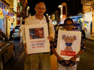 Alan Morison and Chutima Sidasathian protest on Phuket