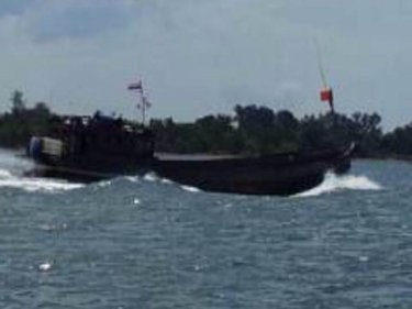 What appears to be a Rohingya boat off the coast between Krabi and Phuket