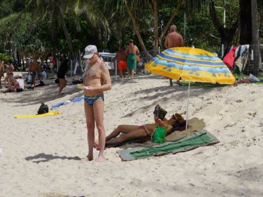 What's the fuss?  One of several beach umbrellas on Patong beach today