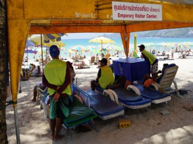 Sunbeds are illegal for some but not for others on Patong beach today