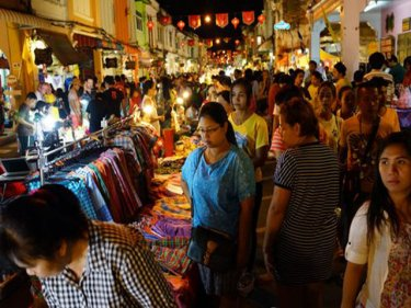 Phuket's walking street in Thalang Road proves popular on Sundays