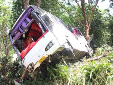 The crash scene off Patak Road on Phuket's Kata-Karon Hill today