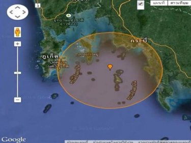 The centre of the quake off Phuket was close to Phi Phi