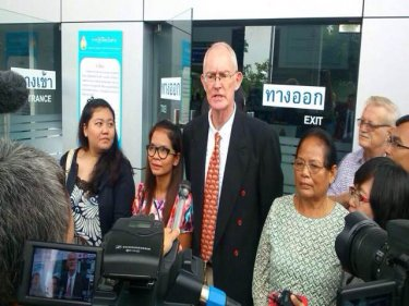 Alan Morison, Chutima Sidasathian and supporters on verdict day