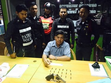 Amnart Choodate, 38, with illegal handgun and ammunition in Patong