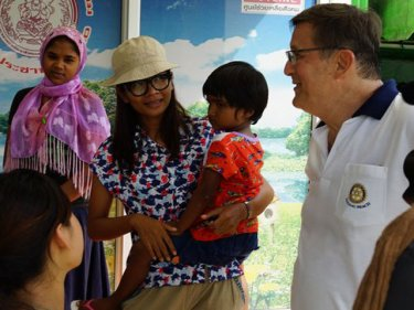 Brad Kenny helping out at a Rohingya shelter north of Phuket this year